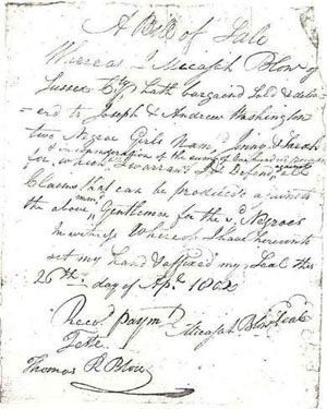 Slave Bill of Sale